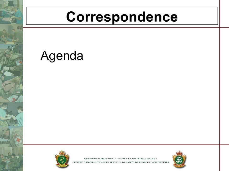 Correspondence Agenda