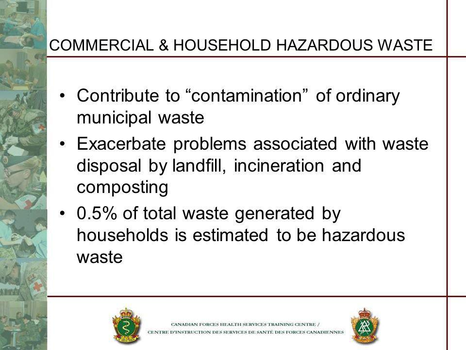 COMMERCIAL & HOUSEHOLD HAZARDOUS WASTE Contribute to contamination of ordinary municipal waste Exacerbate problems associated with waste disposal by l