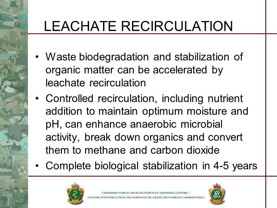 LEACHATE RECIRCULATION Waste biodegradation and stabilization of organic matter can be accelerated by leachate recirculation Controlled recirculation,