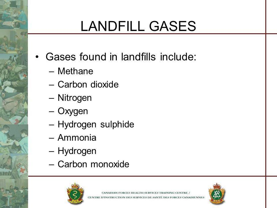 LANDFILL GASES Gases found in landfills include: –Methane –Carbon dioxide –Nitrogen –Oxygen –Hydrogen sulphide –Ammonia –Hydrogen –Carbon monoxide