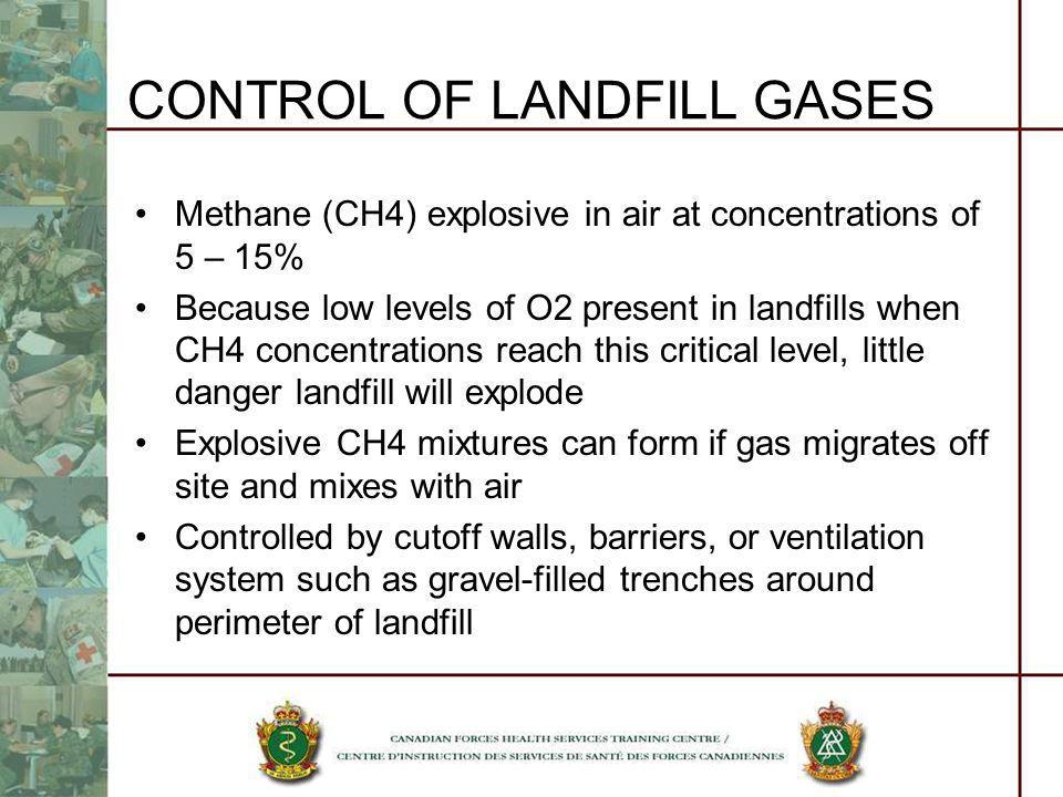 CONTROL OF LANDFILL GASES Methane (CH4) explosive in air at concentrations of 5 – 15% Because low levels of O2 present in landfills when CH4 concentra