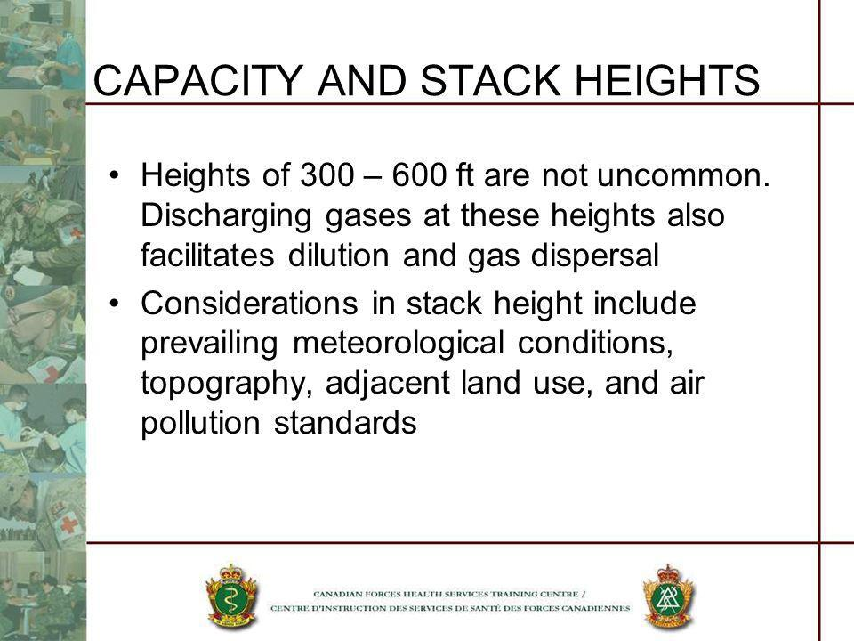 CAPACITY AND STACK HEIGHTS Heights of 300 – 600 ft are not uncommon. Discharging gases at these heights also facilitates dilution and gas dispersal Co