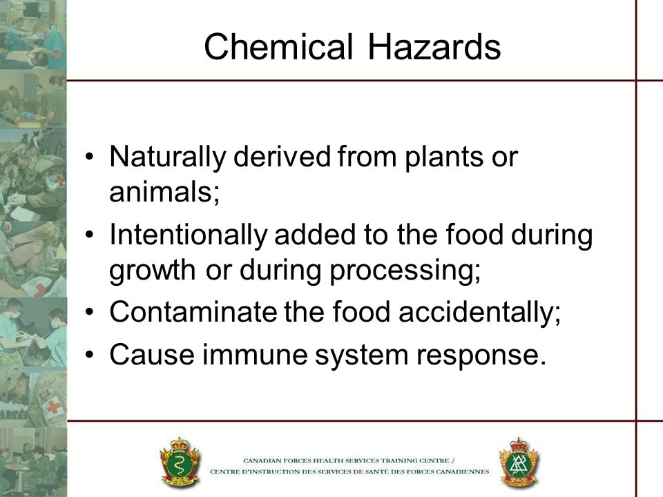 Chemical Hazards Naturally derived from plants or animals; Intentionally added to the food during growth or during processing; Contaminate the food ac