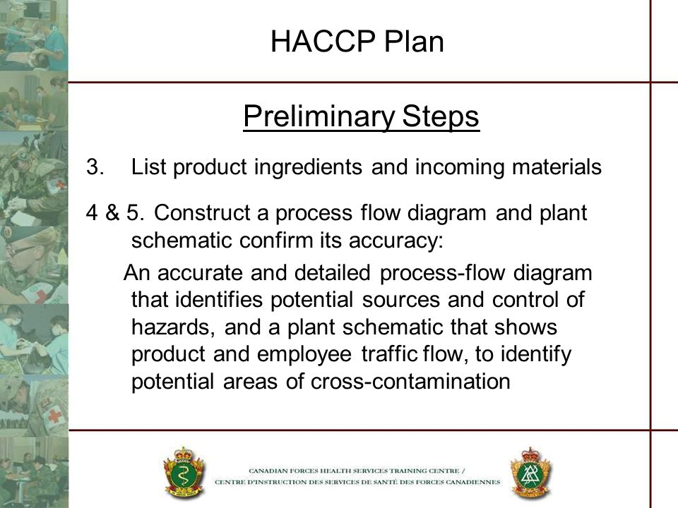 HACCP Plan Preliminary Steps 3.List product ingredients and incoming materials 4 & 5.Construct a process flow diagram and plant schematic confirm its