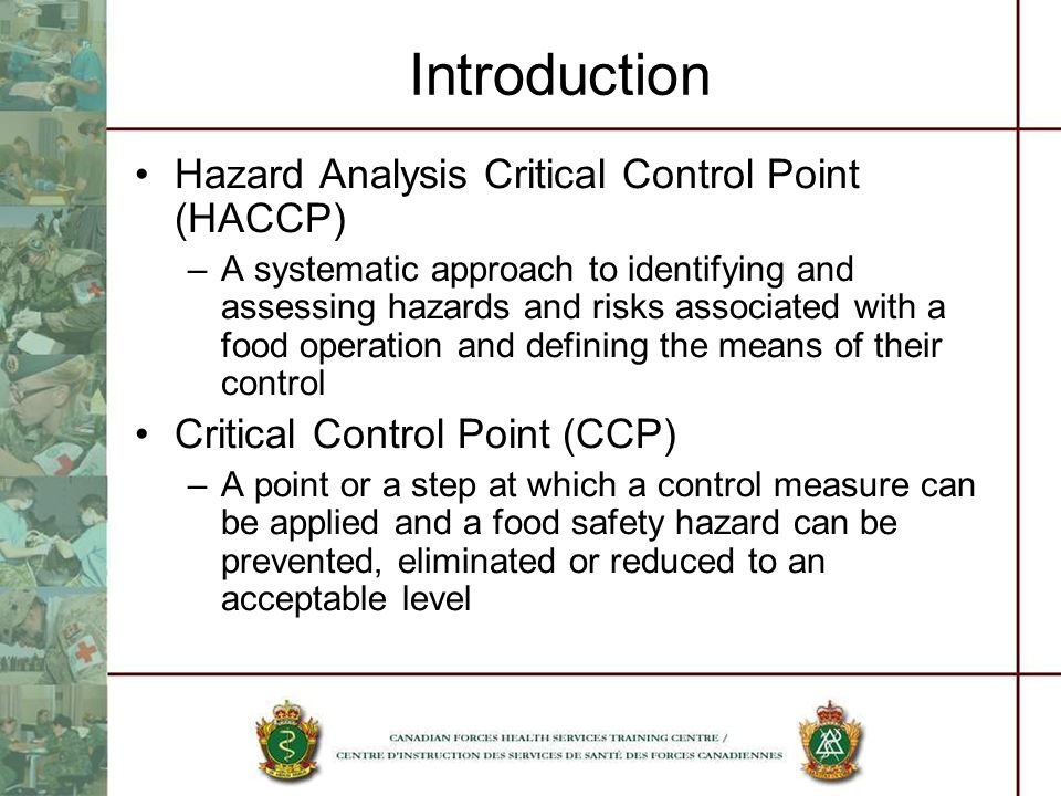 Introduction Hazard Analysis Critical Control Point (HACCP) –A systematic approach to identifying and assessing hazards and risks associated with a fo