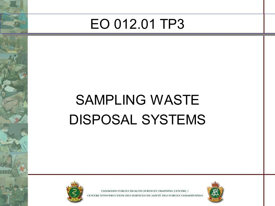 EO 012.01 TP3 SAMPLING WASTE DISPOSAL SYSTEMS