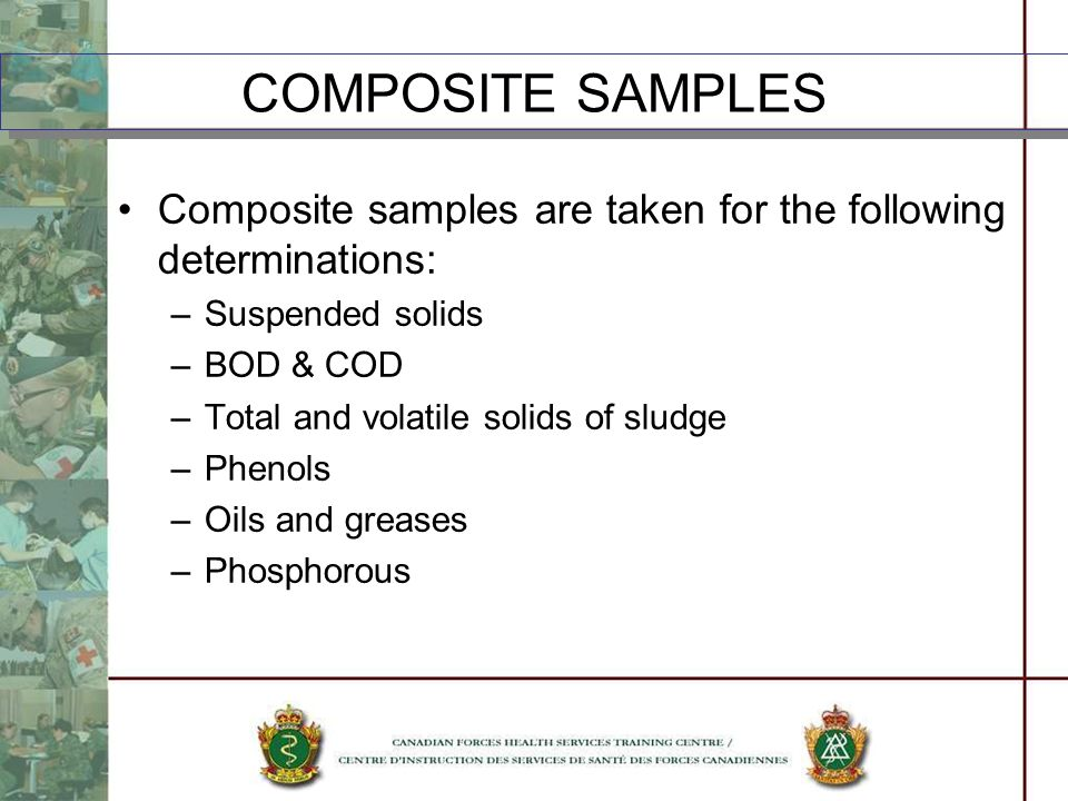 Composite samples are taken for the following determinations: –Suspended solids –BOD & COD –Total and volatile solids of sludge –Phenols –Oils and gre