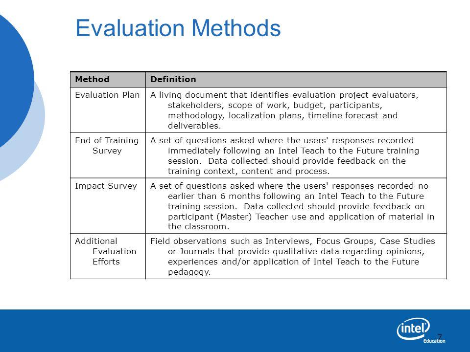 7 Evaluation Methods MethodDefinition Evaluation PlanA living document that identifies evaluation project evaluators, stakeholders, scope of work, bud