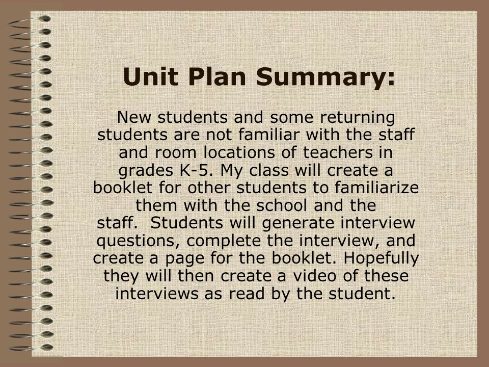 Unit Plan Summary: New students and some returning students are not familiar with the staff and room locations of teachers in grades K-5. My class wil