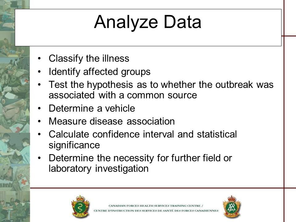Analyze Data Classify the illness Identify affected groups Test the hypothesis as to whether the outbreak was associated with a common source Determin