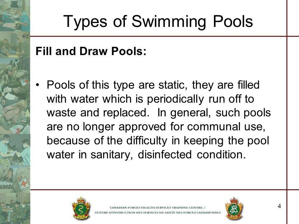 4 Types of Swimming Pools Fill and Draw Pools: Pools of this type are static, they are filled with water which is periodically run off to waste and re