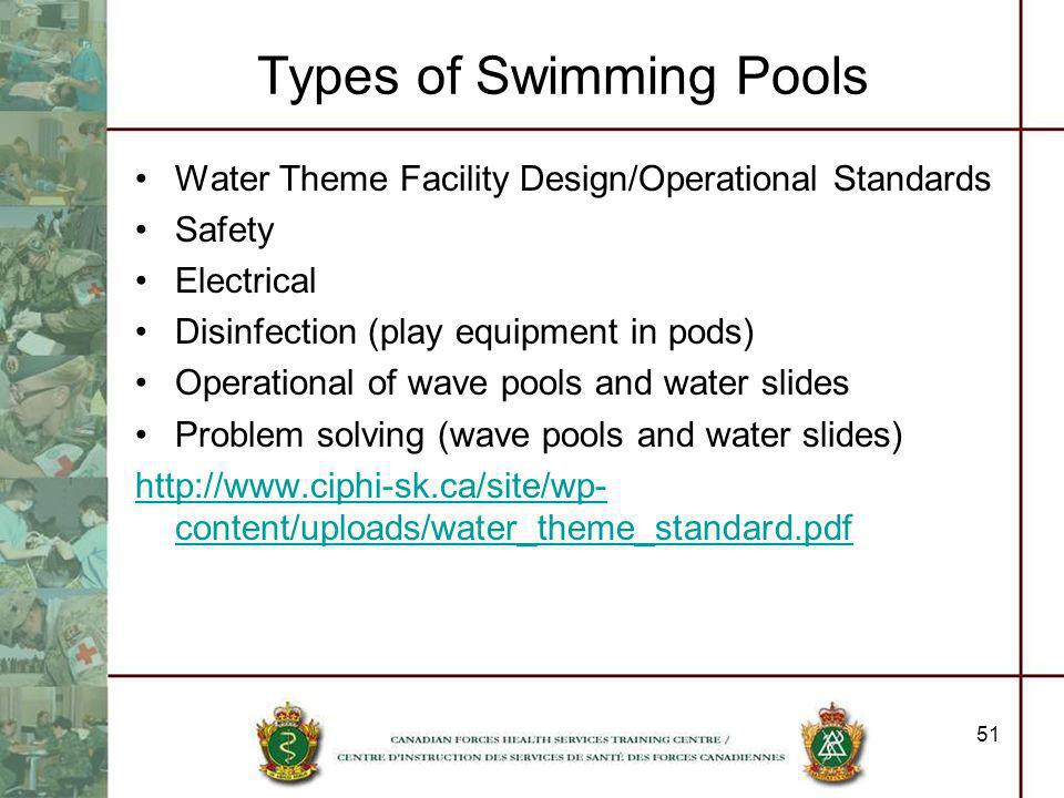 51 Types of Swimming Pools Water Theme Facility Design/Operational Standards Safety Electrical Disinfection (play equipment in pods) Operational of wa