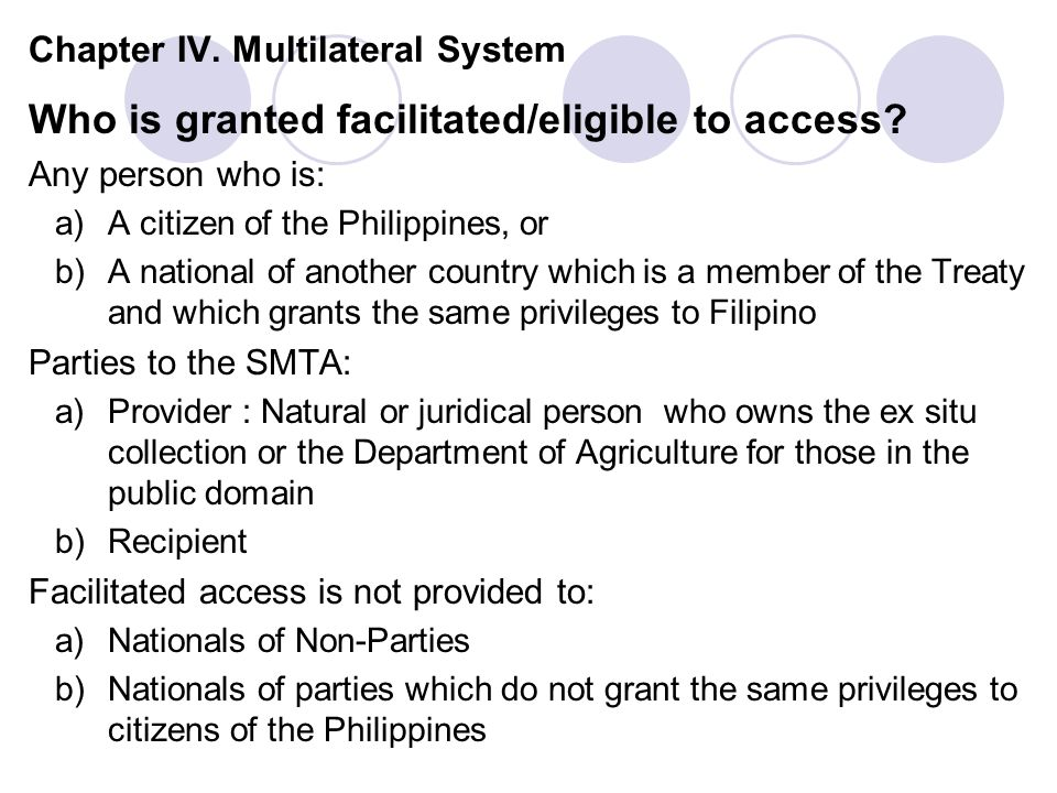 Chapter IV. Multilateral System Who is granted facilitated/eligible to access.
