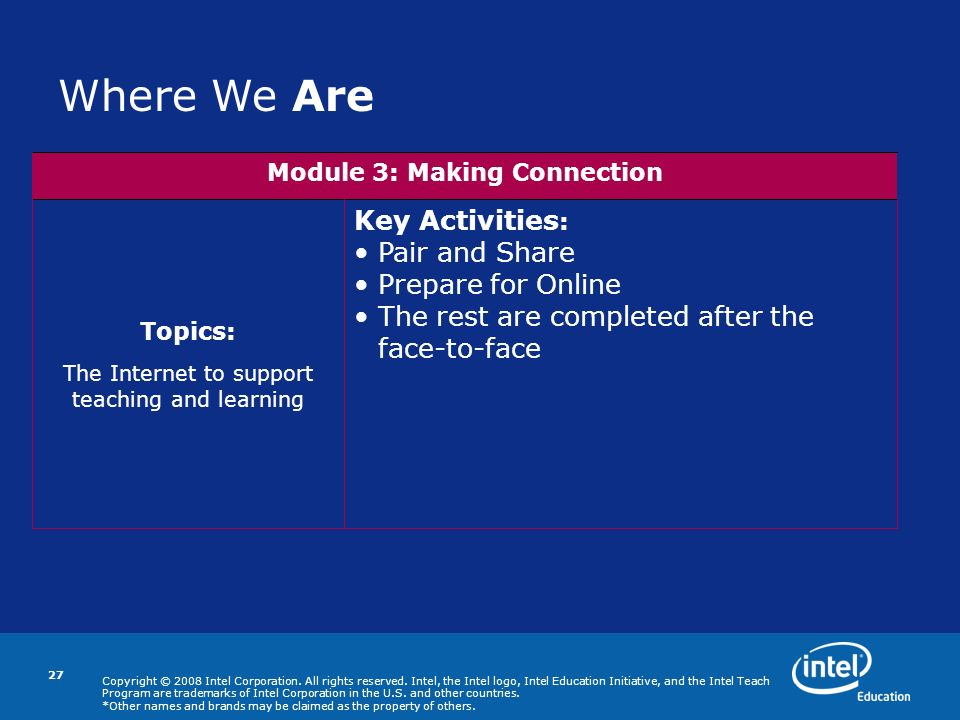 Copyright © 2008 Intel Corporation. All rights reserved. Intel, the Intel logo, Intel Education Initiative, and the Intel Teach Program are trademarks