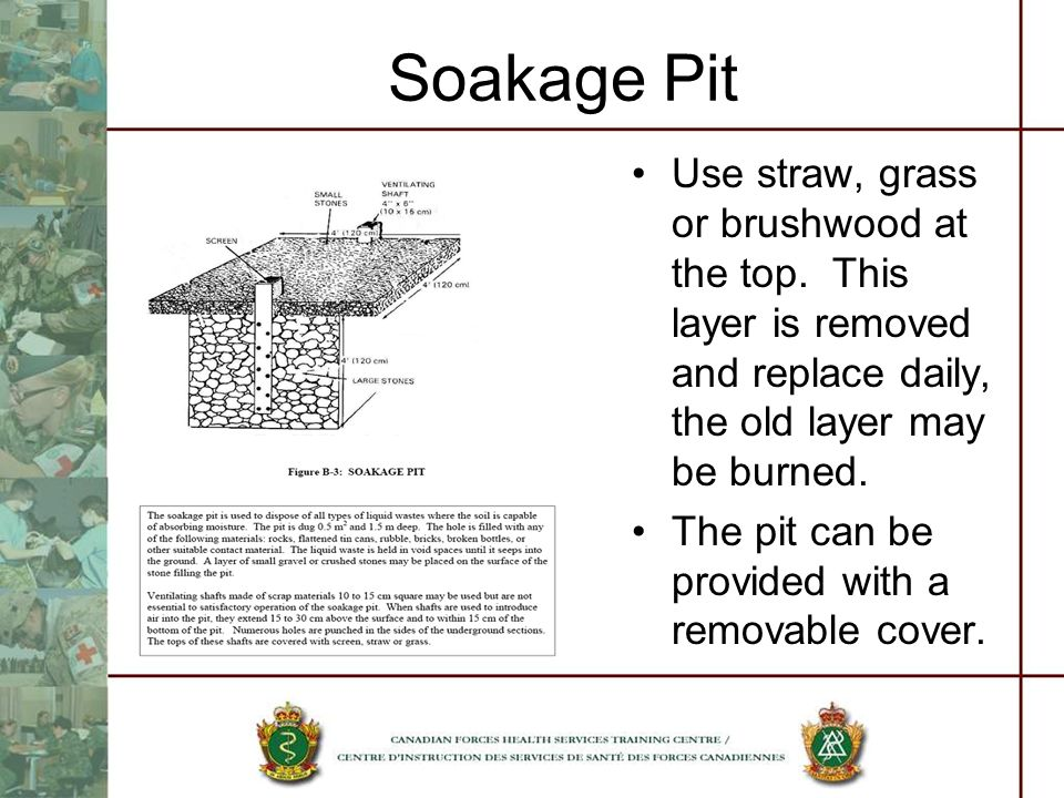 Soakage Pit Use straw, grass or brushwood at the top. This layer is removed and replace daily, the old layer may be burned. The pit can be provided wi