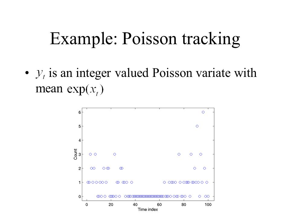 Example: Poisson tracking is an integer valued Poisson variate with mean