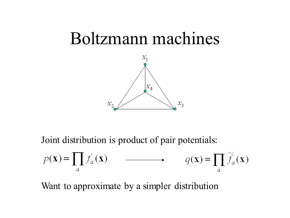Boltzmann machines Joint distribution is product of pair potentials: Want to approximate by a simpler distribution