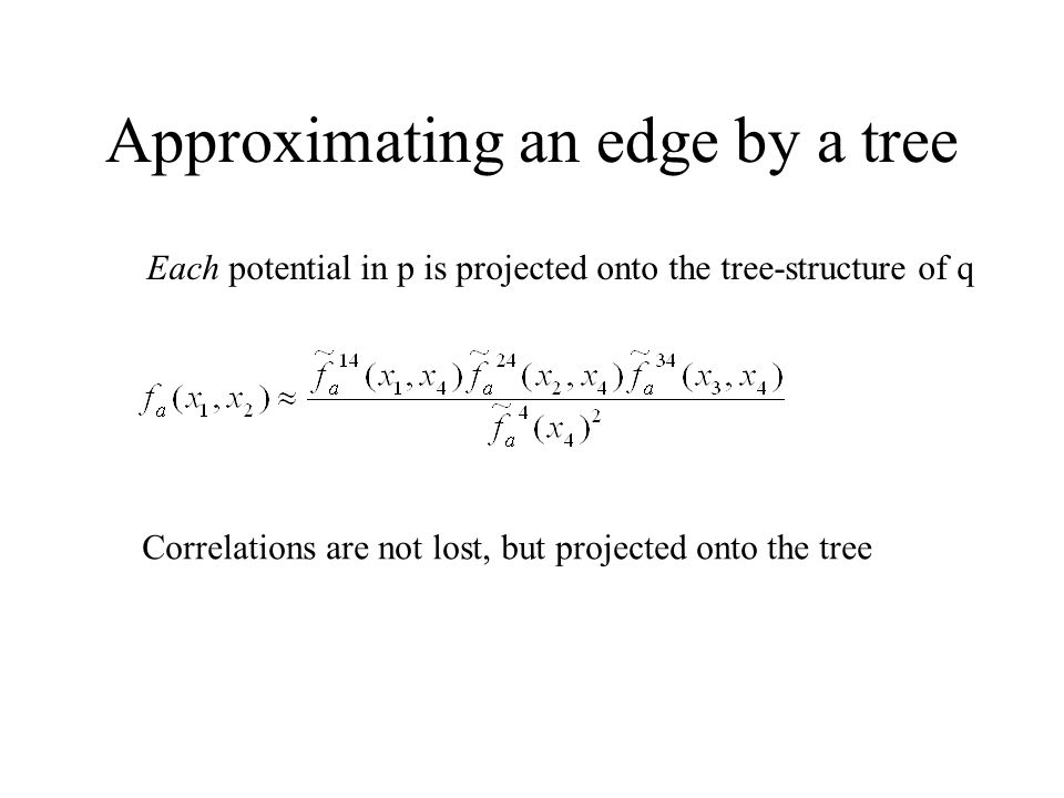 Approximating an edge by a tree Each potential in p is projected onto the tree-structure of q Correlations are not lost, but projected onto the tree