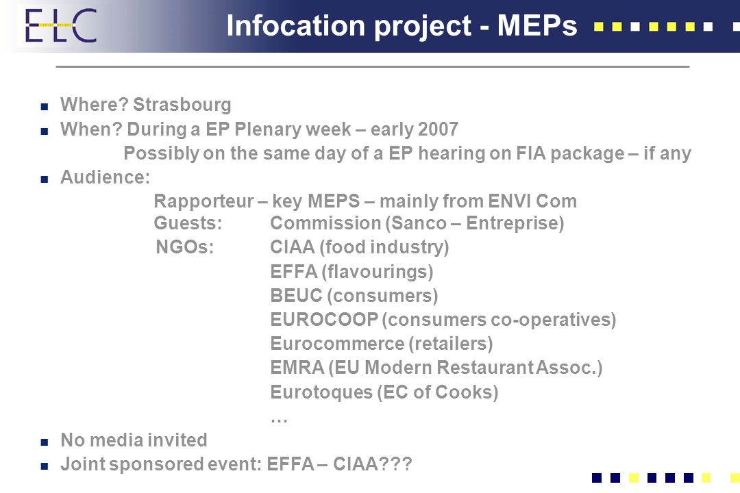 Infocation project - MEPs n Where. Strasbourg n When.