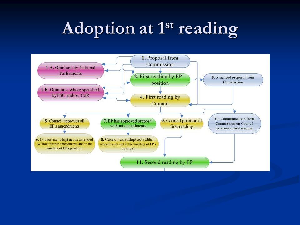 Adoption at 1 st reading