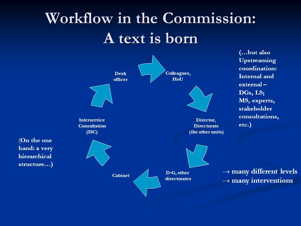 Workflow in the Commission: A text is born Colleagues, HoU Director, Directorate (the other units) D-G, other directorates Cabinet Interservice Consul