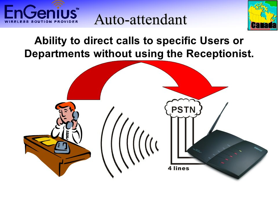 Canada Auto-attendant Auto-attendant Ability to direct calls to specific Users or Departments without using the Receptionist.