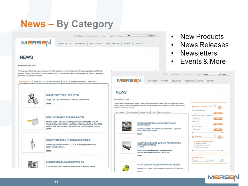 13 News – By Category New Products News Releases Newsletters Events & More
