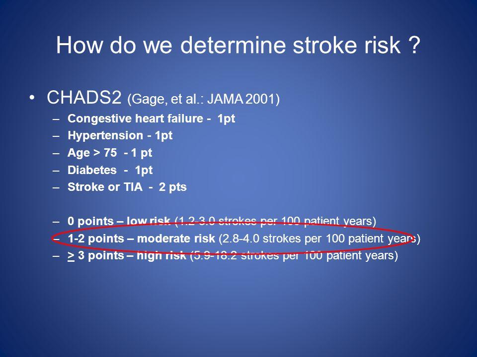 How do we determine stroke risk ? CHADS2 (Gage, et al.: JAMA 2001) –Congestive heart failure - 1pt –Hypertension - 1pt –Age > 75 - 1 pt –Diabetes - 1p