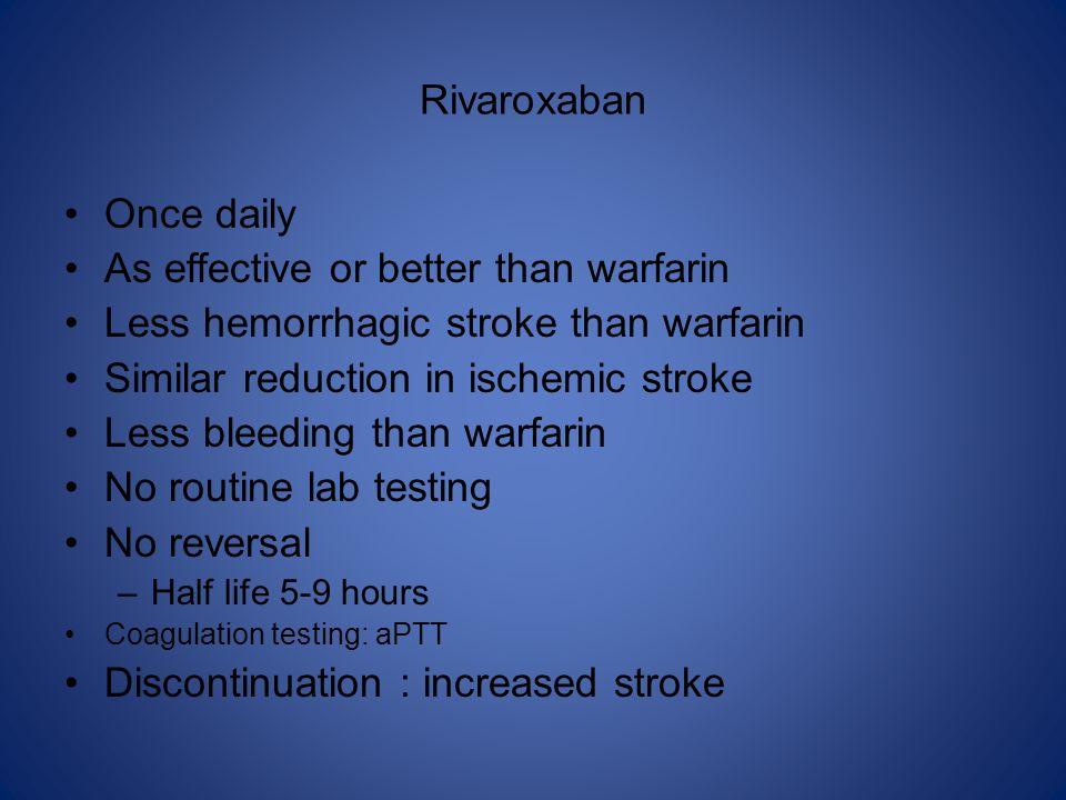 Rivaroxaban Once daily As effective or better than warfarin Less hemorrhagic stroke than warfarin Similar reduction in ischemic stroke Less bleeding t