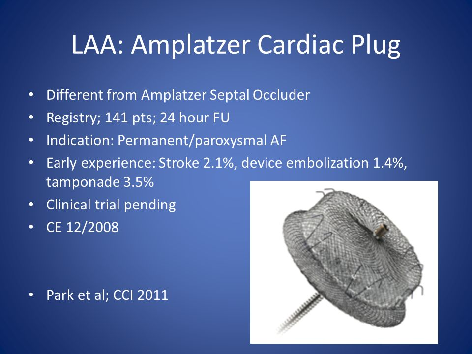 LAA: Amplatzer Cardiac Plug Different from Amplatzer Septal Occluder Registry; 141 pts; 24 hour FU Indication: Permanent/paroxysmal AF Early experienc
