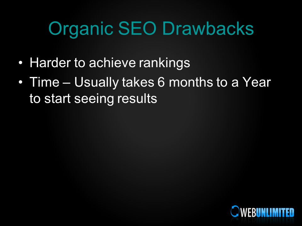 Organic SEO Drawbacks Harder to achieve rankings Time – Usually takes 6 months to a Year to start seeing results