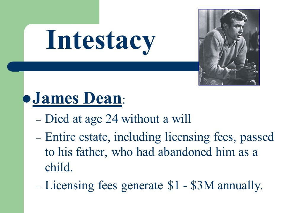 Intestacy James Dean : – Died at age 24 without a will – Entire estate, including licensing fees, passed to his father, who had abandoned him as a chi