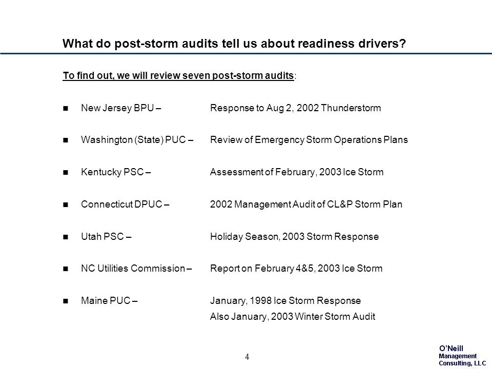 4 What do post-storm audits tell us about readiness drivers.