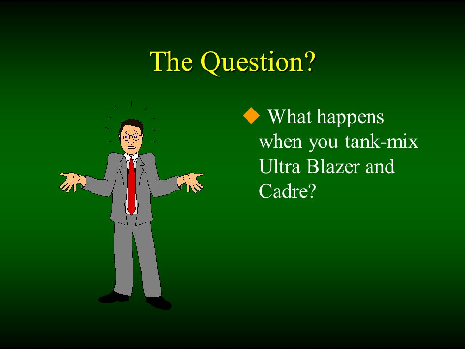 The Question? u What happens when you tank-mix Ultra Blazer and Cadre?