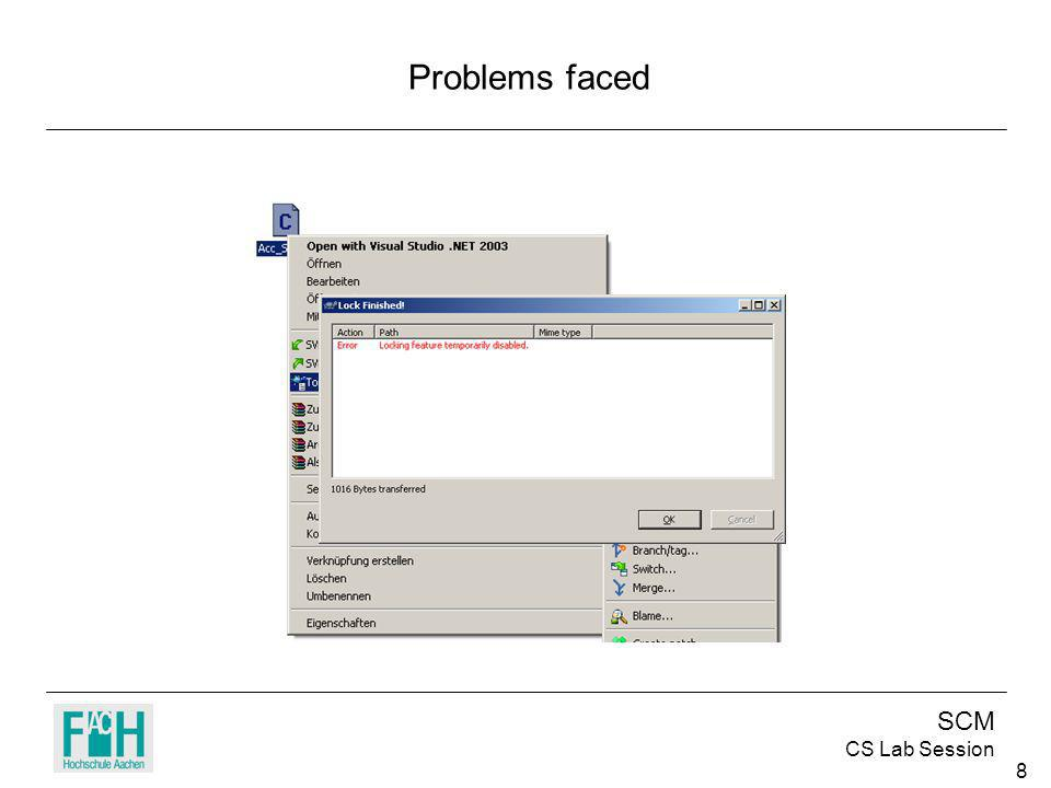 SCM CS Lab Session 8 Problems faced