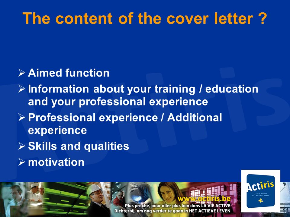 How to structure your cover letter.