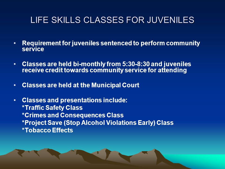 LIFE SKILLS CLASSES FOR JUVENILES Requirement for juveniles sentenced to perform community service Classes are held bi-monthly from 5:30-8:30 and juve