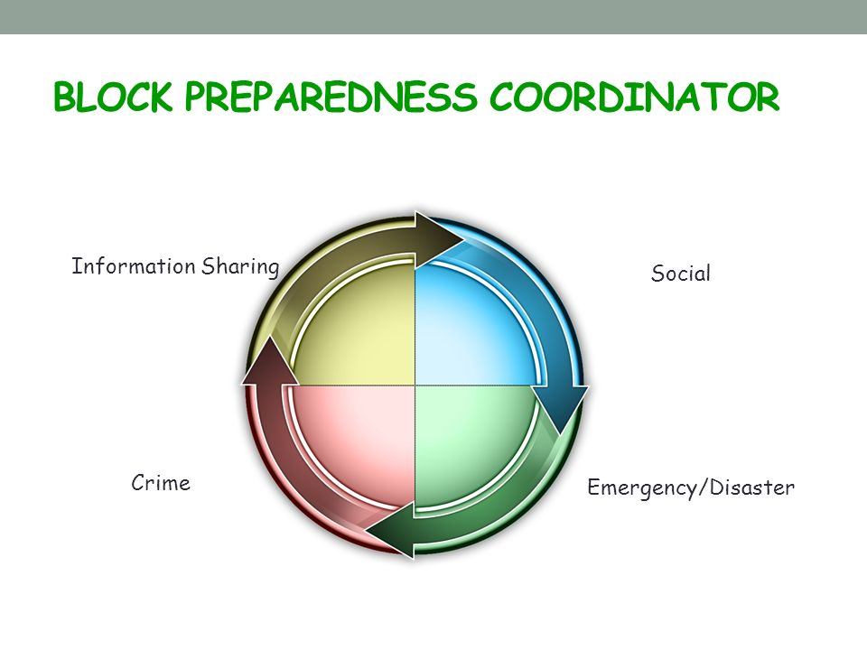BLOCK PREPAREDNESS COORDINATOR Crime Emergency/Disaster Social Information Sharing