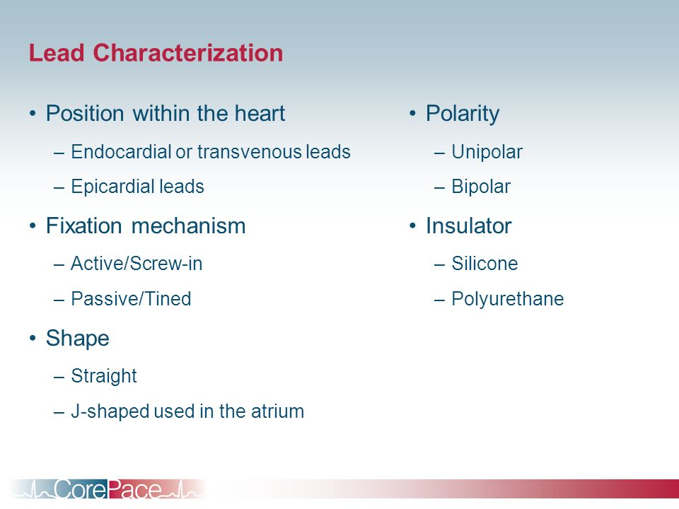 Lead Characterization Position within the heart –Endocardial or transvenous leads –Epicardial leads Fixation mechanism –Active/Screw-in –Passive/Tined