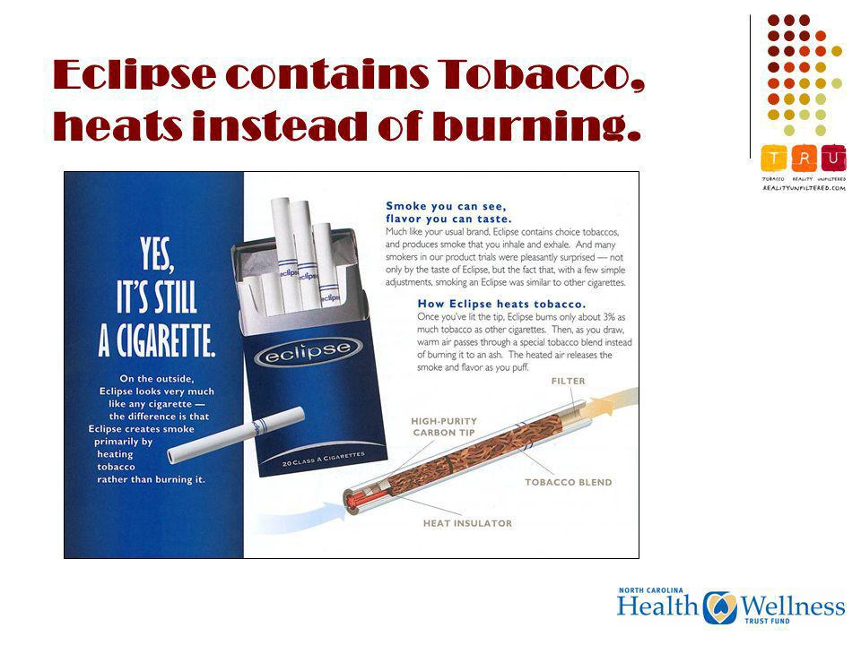Eclipse contains Tobacco, heats instead of burning.