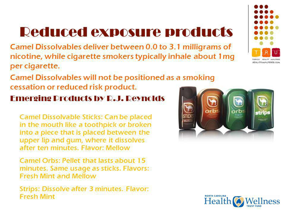 Camel Dissolvables deliver between 0.0 to 3.1 milligrams of nicotine, while cigarette smokers typically inhale about 1mg per cigarette.