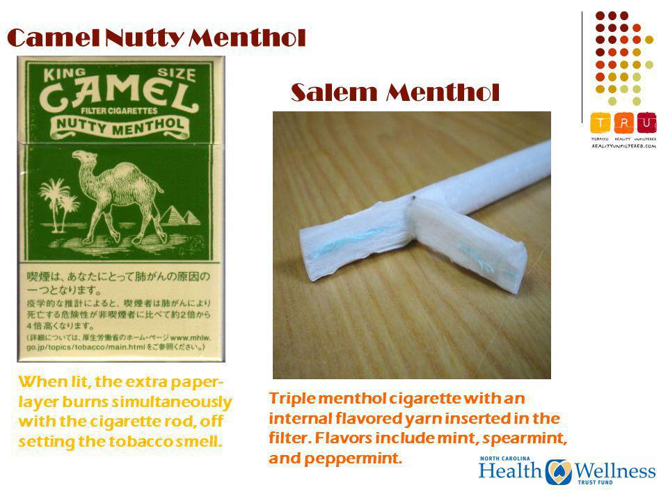 Camel Nutty Menthol When lit, the extra paper- layer burns simultaneously with the cigarette rod, off setting the tobacco smell.