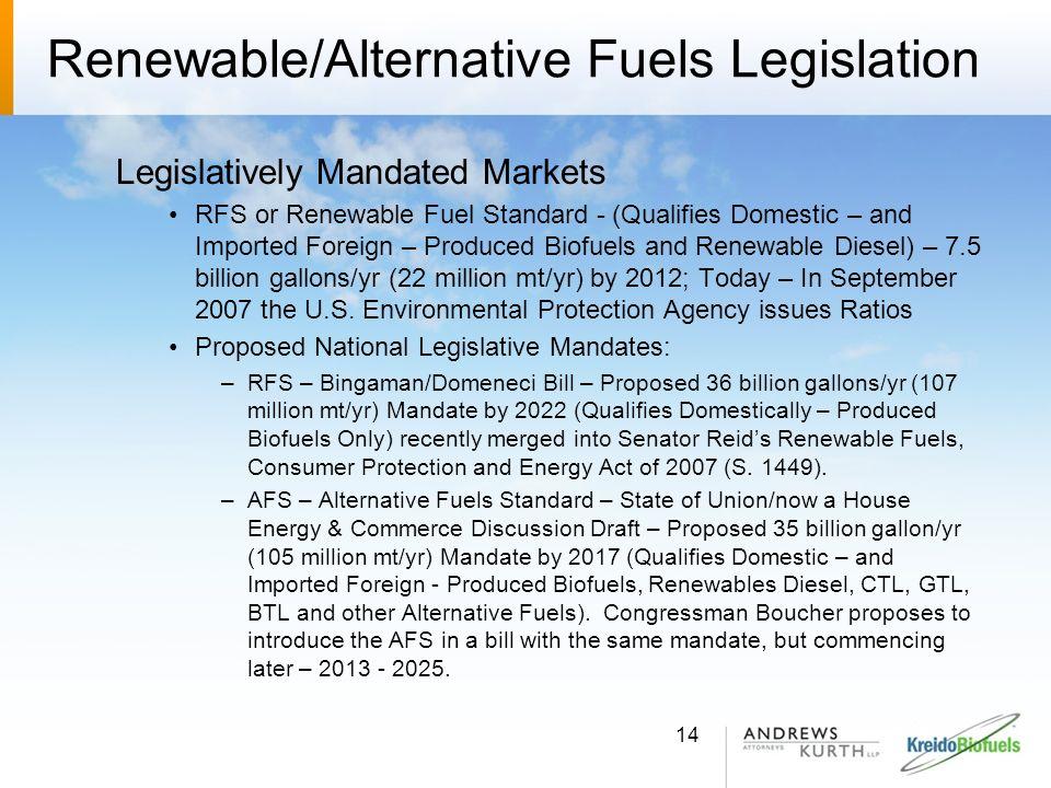 Renewable/Alternative Fuels Legislation Legislatively Mandated Markets RFS or Renewable Fuel Standard - (Qualifies Domestic – and Imported Foreign – P