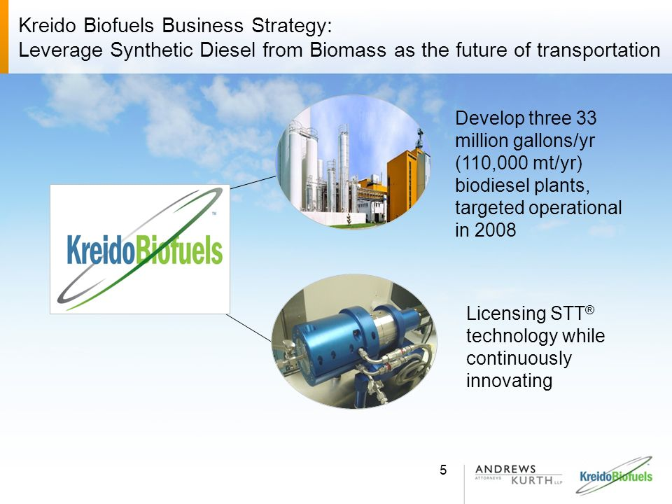 Pending Renewable Energy Transactions Andrew Kurths pending transactions: Ecron Corporation – 6 X 110 million gallons/yr (330,000 mt/yr) Fuel Ethanol Facility to be constructed in Baltimore, Maryland on a project finance basis – will be the largest facility in the U.S.