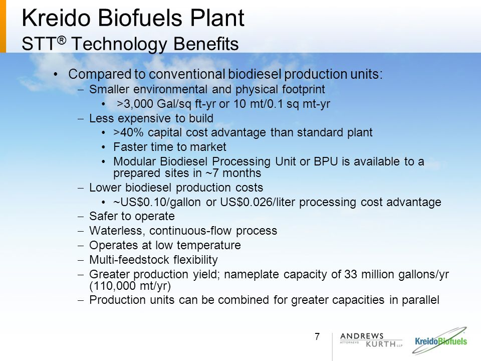 Kreido Biofuels Plant STT ® Technology Benefits Compared to conventional biodiesel production units: Smaller environmental and physical footprint >3,0