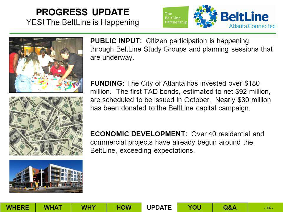 - 14 - PUBLIC INPUT: Citizen participation is happening through BeltLine Study Groups and planning sessions that are underway.