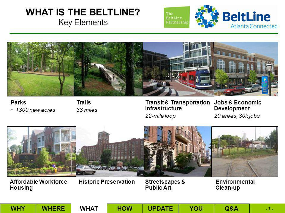 - 7 - Trails 33 miles Affordable Workforce Housing Transit & Transportation Infrastructure 22-mile loop Historic PreservationStreetscapes & Public Art Parks ~ 1300 new acres Jobs & Economic Development 20 areas, 30k jobs Environmental Clean-up WHYWHEREWHATHOWUPDATEQ&AYOU Key Elements WHAT IS THE BELTLINE
