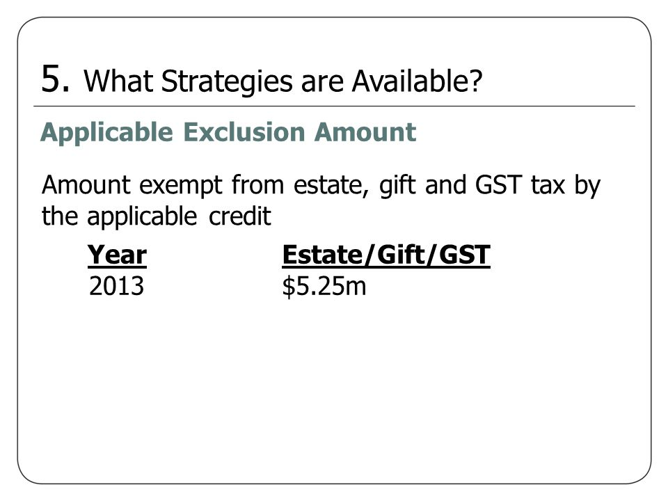 5. What Strategies are Available? Applicable Exclusion Amount Year 2013 Estate/Gift/GST $5.25m Amount exempt from estate, gift and GST tax by the appl