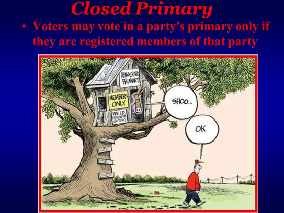 Closed Primary Voters may vote in a party's primary only if they are registered members of that party