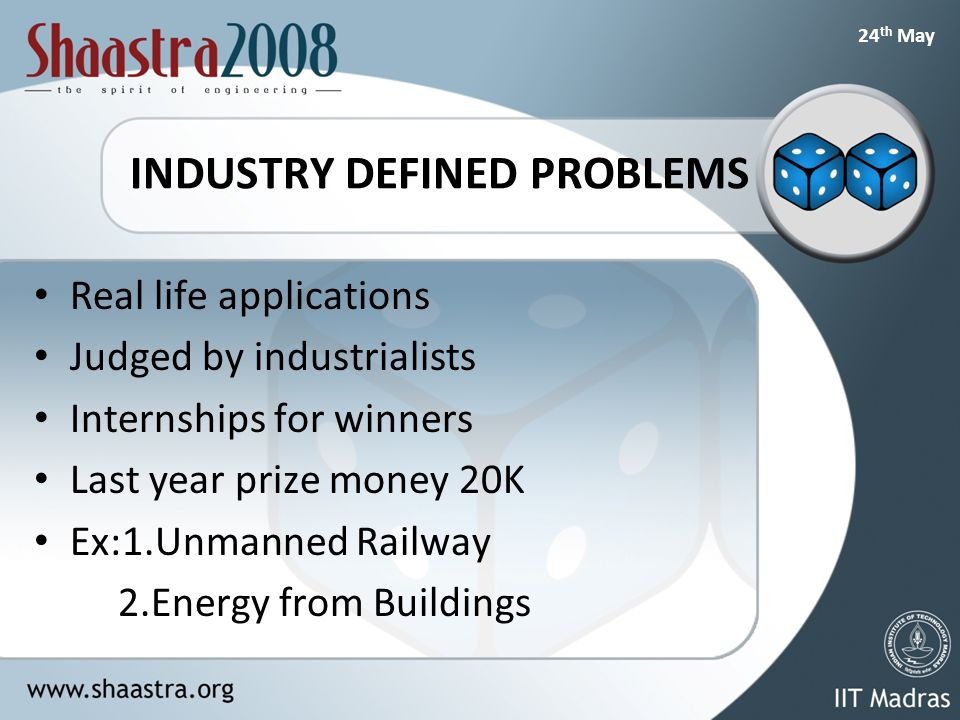 24 th May INDUSTRY DEFINED PROBLEMS Real life applications Judged by industrialists Internships for winners Last year prize money 20K Ex:1.Unmanned Railway 2.Energy from Buildings